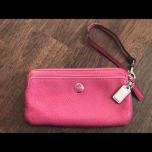 Coach | Pebble Leather Double Zip Wristlet Wallet